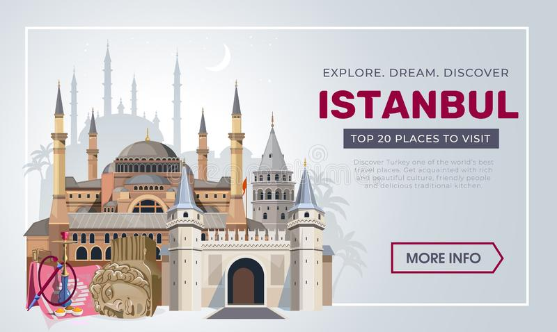 Istanbul travel banner design template. Turkey vacation and Travel concept. Istanbul travel destinations. Vector travel. Illustration for Turkey royalty free illustration