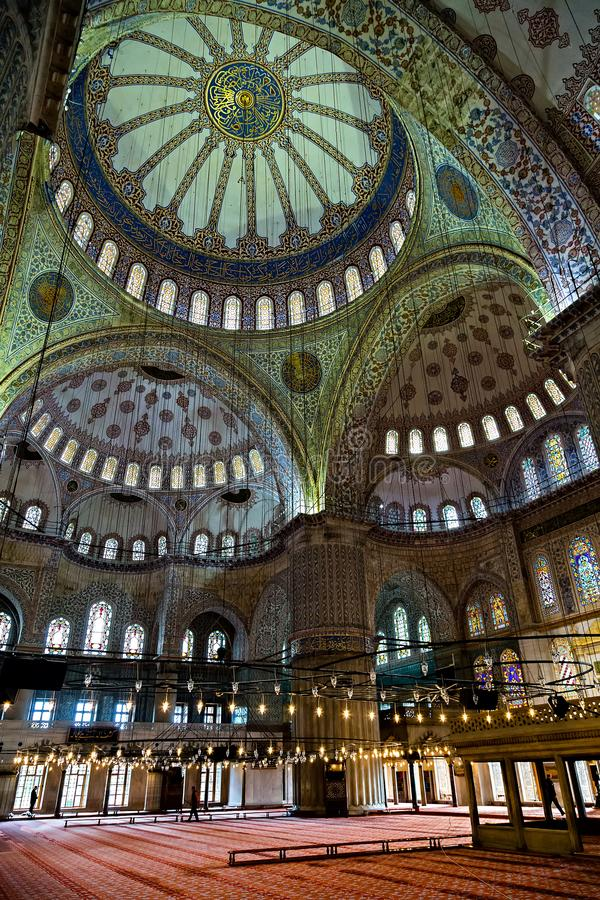 Ceiling Blue Tiles dome and praying area. Istanbul, Turkey – May 01, 2014: Architectural style Islamic, Late Classical Ottoman of flowers, fruit and stock photography