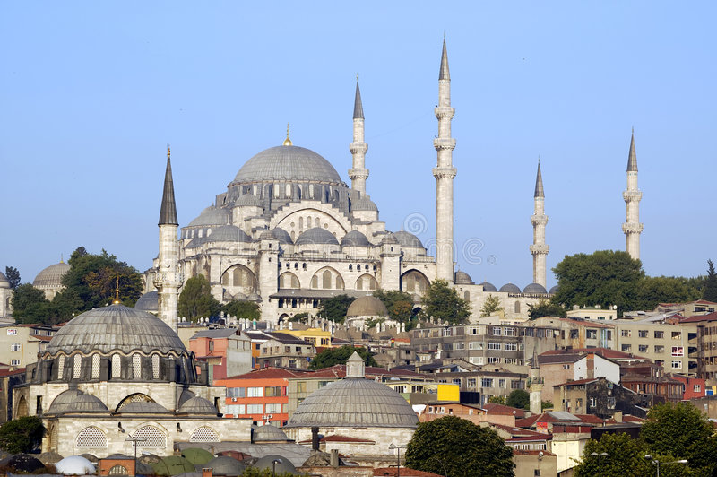 Istanbul, Turkey. Suleymaniye Mosque of Istanbul Turkey, unique example to Ottoman Architecture royalty free stock photo