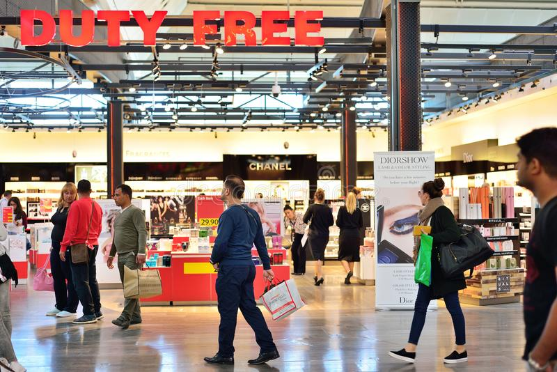 ISTANBUL, TURKEY - APRIL, 2017: Duty Free Shop in Istanbul, Turk. Ey. Duty free shops are retail outlets that are exempt from the payment of certain local or royalty free stock photography