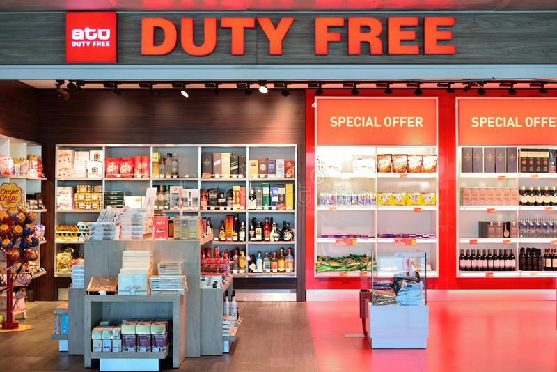 ISTANBUL, TURKEY - APRIL, 2017: Duty Free Shop in Istanbul, Turk. Ey. Duty free shops are retail outlets that are exempt from the payment of certain local or stock photos