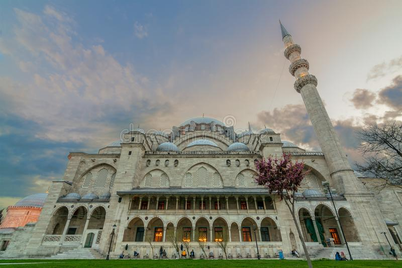 Exterior low angle shot of Suleymaniye Mosque before dusk stock images