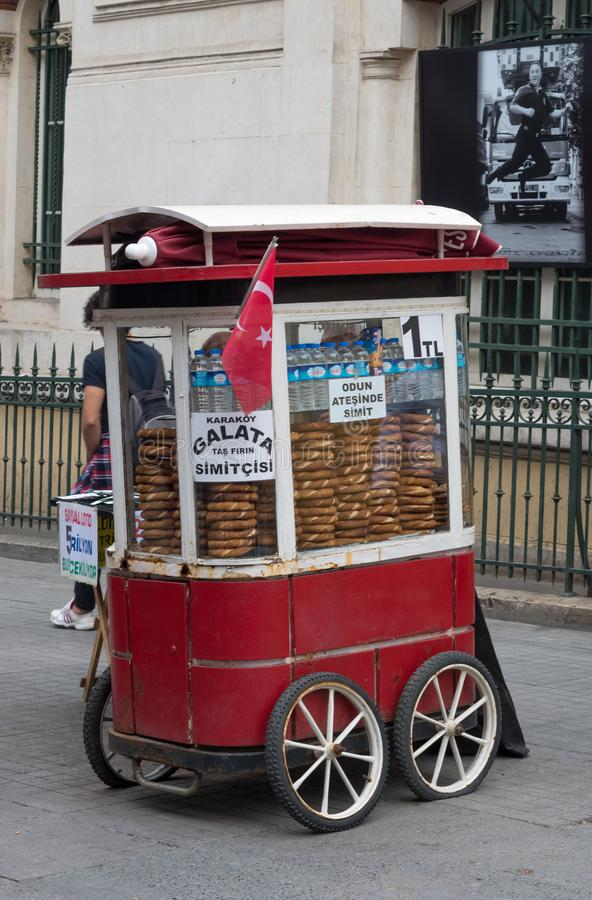 Sale of Turkish Bagel Simit on the street in Istanbul royalty free stock image