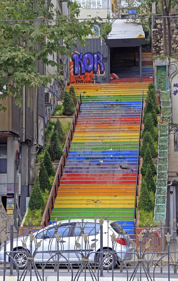 Bright colorful stairs in Istanbul royalty free stock photo