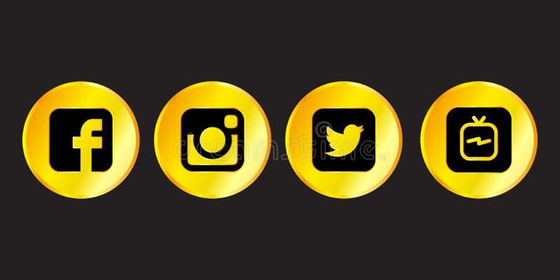 Istanbul, Turkey - August 30, 2018: Collection of golden popular social media logos printed on black background: Facebook, Instagr royalty free illustration
