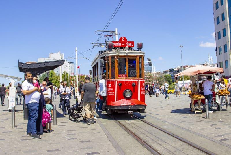 ISTANBUL, TURKEY - August, 05, 2019 - Istanbul nostalgic tramway, linking Taksim and Tunel via Istiklal Street. royalty free stock image