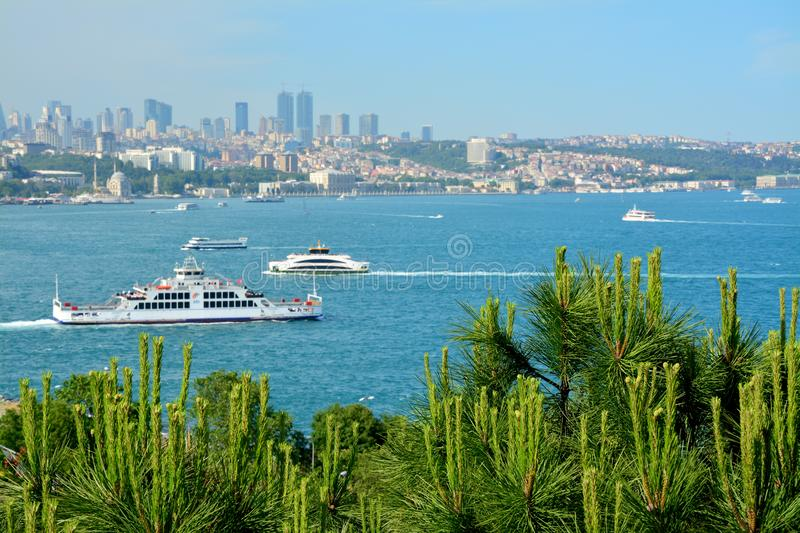 Beautiful view of Istanbul and the Bosphorus with ships royalty free stock photography
