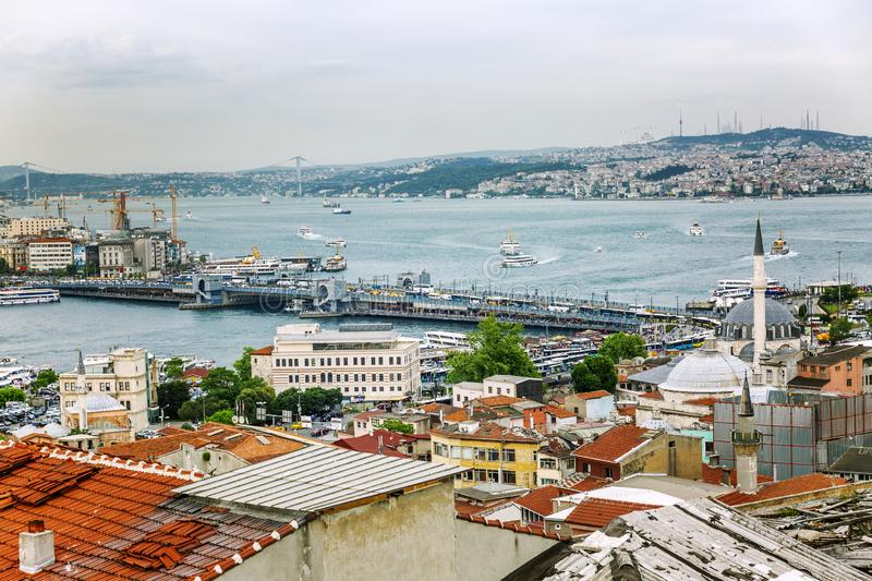 Istanbul, Turkey, 05/22/2019: Beautiful view of the roofs and the Bosphorus stock image