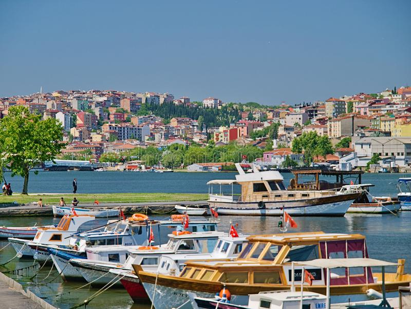 Boats in a port at Bosporus coast. Istanbul, Turkey, boats in a port at Bosporus coast stock images