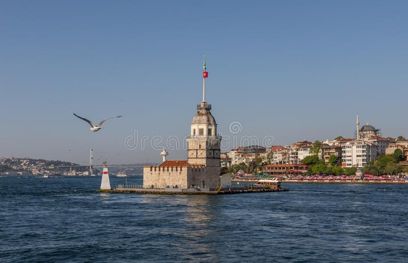 The Maiden`s Tower of Istanbul. Turkey. Istanbul, Turkey - built in the early XII century and right in the middle of the Bosporus strait, the Maiden`s Tower is stock photos