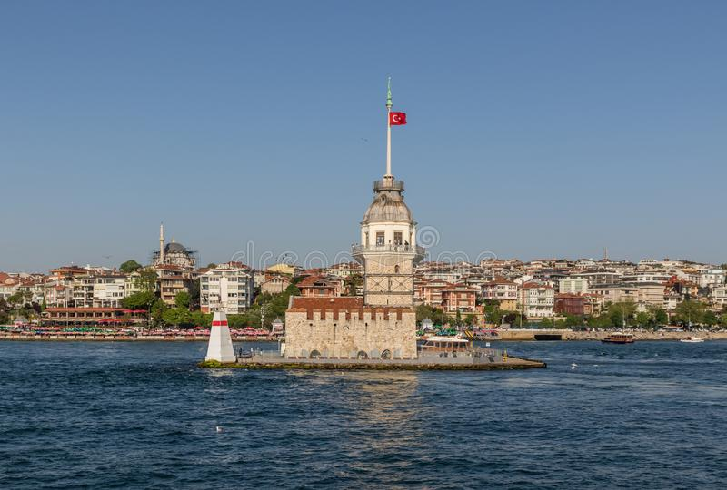 The Maiden`s Tower of Istanbul. Turkey. Istanbul, Turkey - built in the early XII century and right in the middle of the Bosporus strait, the Maiden`s Tower is royalty free stock photos