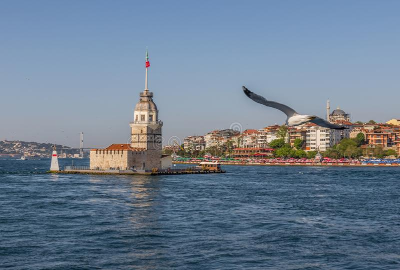 The Maiden`s Tower of Istanbul. Turkey. Istanbul, Turkey - built in the early XII century and right in the middle of the Bosporus strait, the Maiden`s Tower is royalty free stock photography