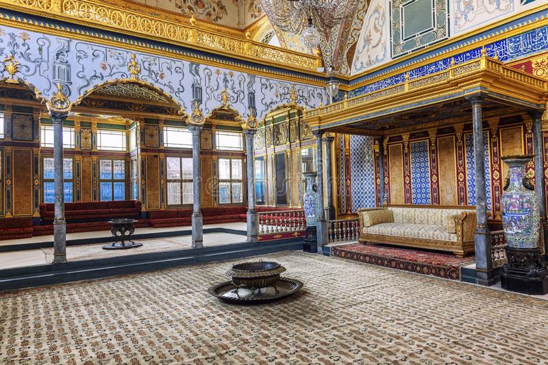 Istanbul, Turkey, 05/22/2019: The Council Room in Topkapi Palace. Rich interior decoration royalty free stock photo