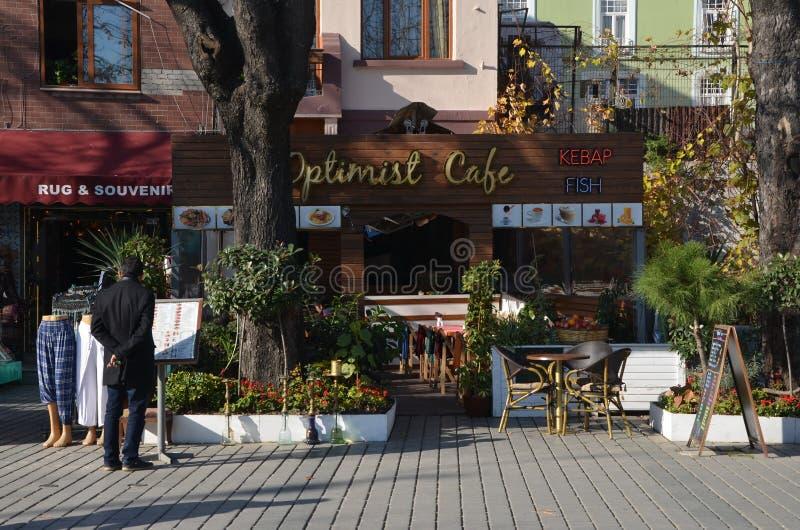 Optimist cafe. ISTANBUL, TURKEY - DEC 28, 2015 - Optimist cafe. in Istanbul, Turkey stock photos