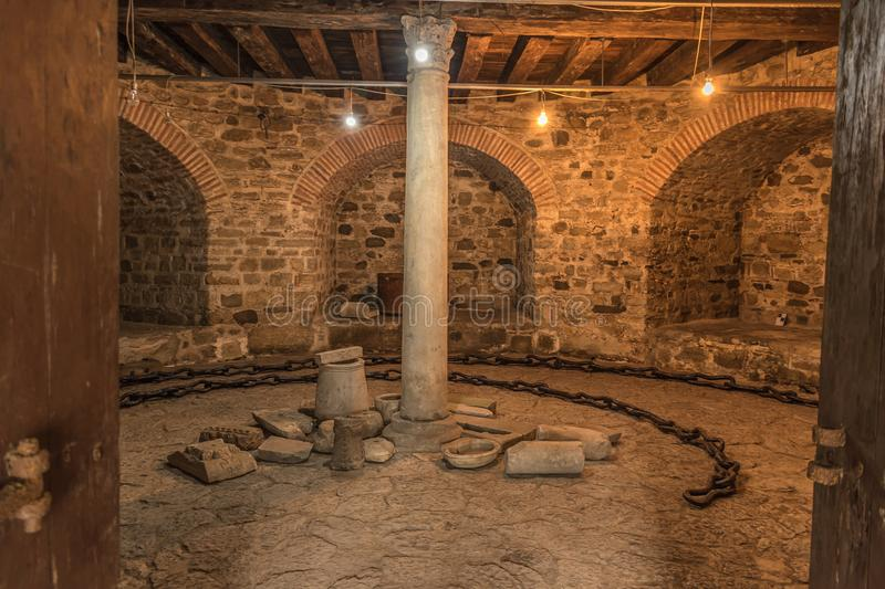 Istanbul, Turkey - 6.13.2018 : Dungeon at Rumeli Fortress. Rumelihisarı also known as Rumelian Castle is a medieval fortress located in Istanbul, Turkey, on a stock photography