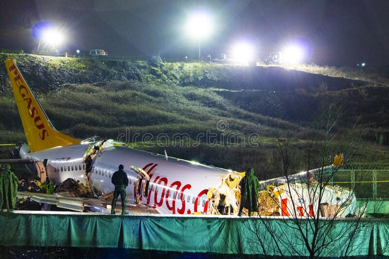 Pegasus Airlines plane crash in Istanbul, Turkey on 05 February 2020 royalty free stock photos