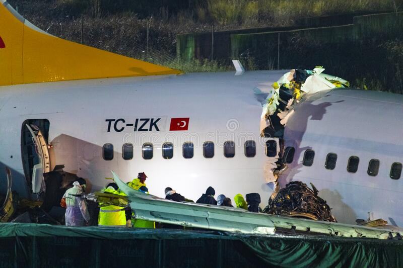 Pegasus Airlines plane crash in Istanbul, Turkey on 05 February 2020 royalty free stock images