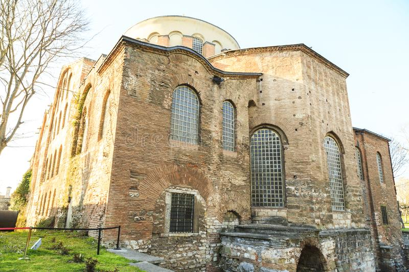 Istanbul, Turkey - 04.03.2019: Hagia Irene church Aya Irini in the park of Topkapi Palace in Istanbul, Turkey.  royalty free stock photo