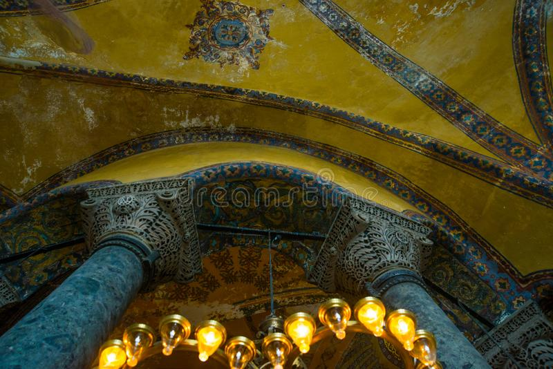 Istanbul, Turkey:. Hagia Sophia in Istanbul. Interior and decoration details, mosaic of Ayasophia. Museum, Orthodox Church and royalty free stock photo