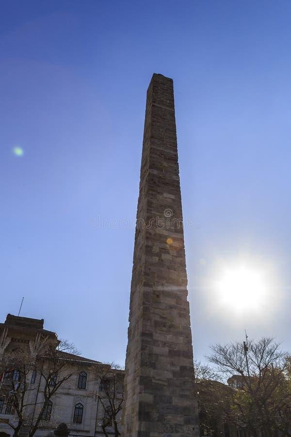 Istanbul.Turkey. Hippodrome.Obelisk Constantine, Walled Obelisk in the Sultanahmet stock image