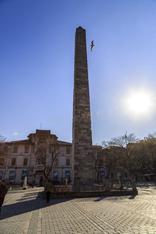 Istanbul.Turkey. Hippodrome.Obelisk Constantine, Walled Obelisk in the Sultanahmet stock photos