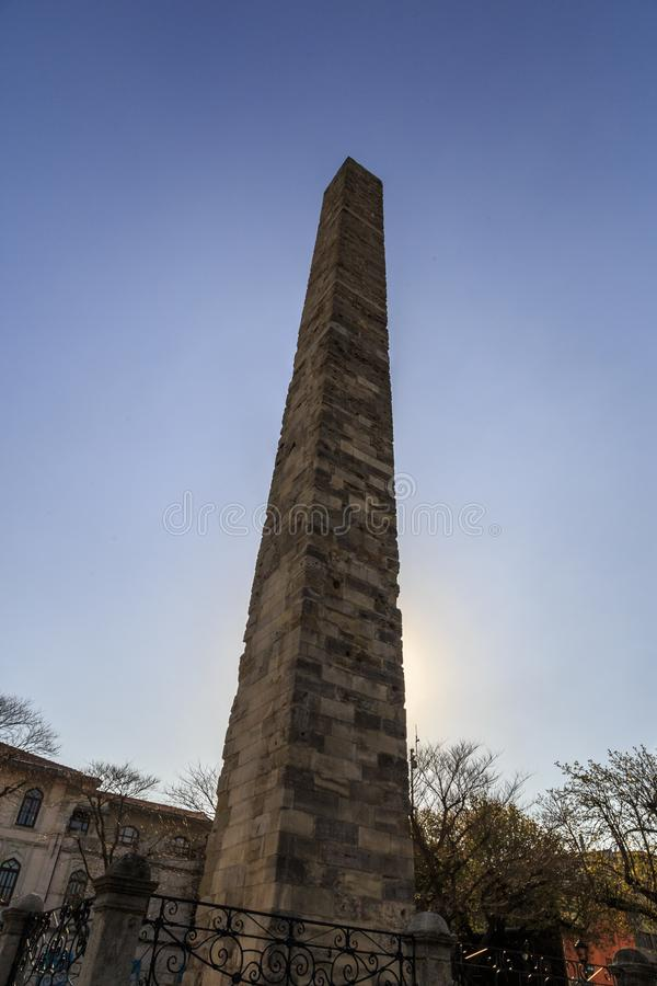 Istanbul.Turkey. Hippodrome.Obelisk Constantine, Walled Obelisk in the Sultanahmet royalty free stock photography