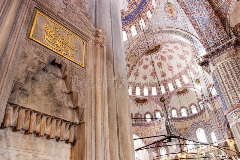Istanbul,Turkey. The interior and Exterior of the Blue Mosque royalty free stock photography