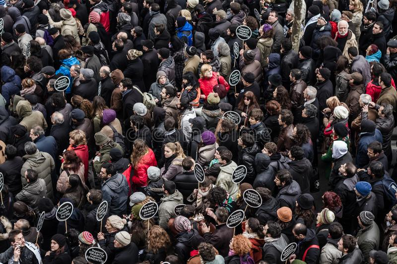 ISTANBUL, TURKEY - JAN 19, 2012: Death anniversary of Hrant. Who was killed on 19 January 2007 stock images