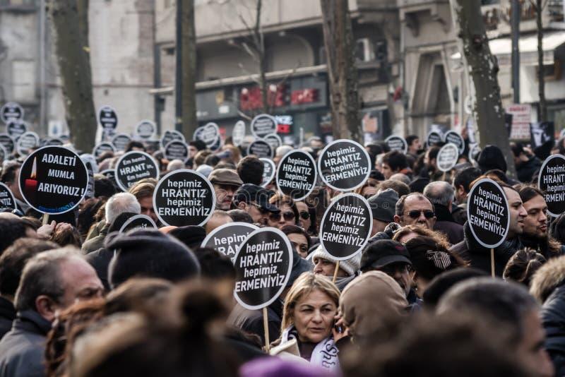ISTANBUL, TURKEY - JAN 19, 2012: Death anniversary of Hrant. Who was killed on 19 January 2007 royalty free stock photos