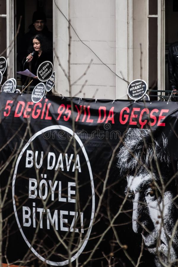 ISTANBUL, TURKEY - JAN 19, 2012: Death anniversary of Hrant. Who was killed on 19 January 2007 royalty free stock images