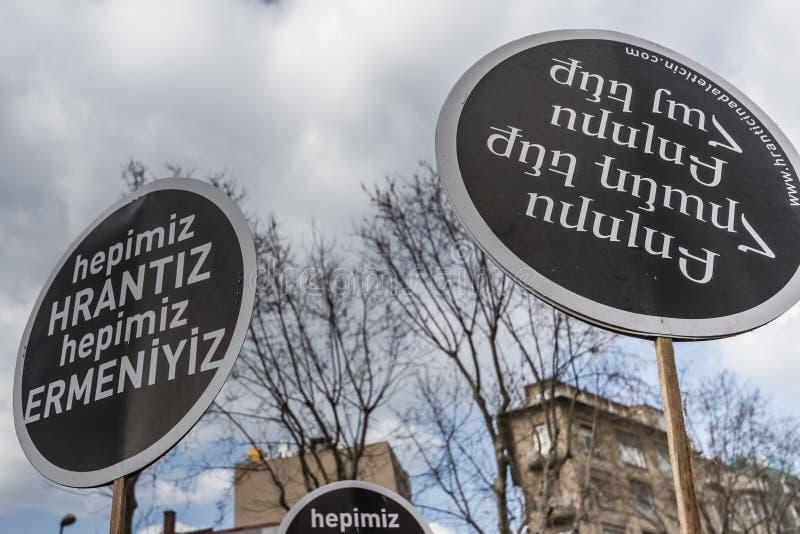ISTANBUL, TURKEY - JAN 19, 2012: Death anniversary of Hrant. Who was killed on 19 January 2007 stock photo