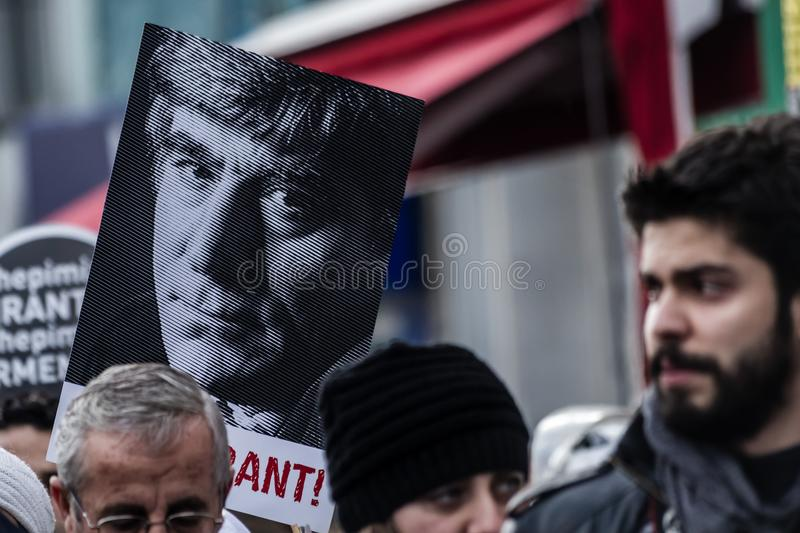 ISTANBUL, TURKEY - JAN 19, 2012: Death anniversary of Hrant. Who was killed on 19 January 2007 stock photography