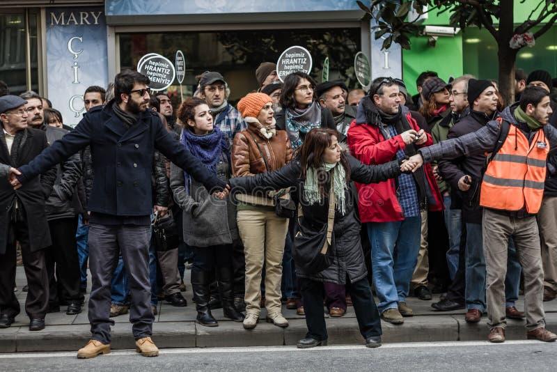 ISTANBUL, TURKEY - JAN 19, 2012: Death anniversary of Hrant. Who was killed on 19 January 2007 stock photos