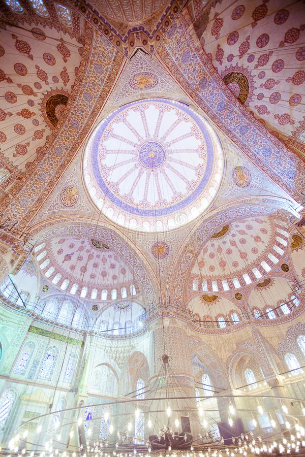 ISTANBUL, TURKEY - JAN 13, 2018: Interior of the Sultanahmet Mos. Que Blue Mosque in Istanbul, Turkey stock image