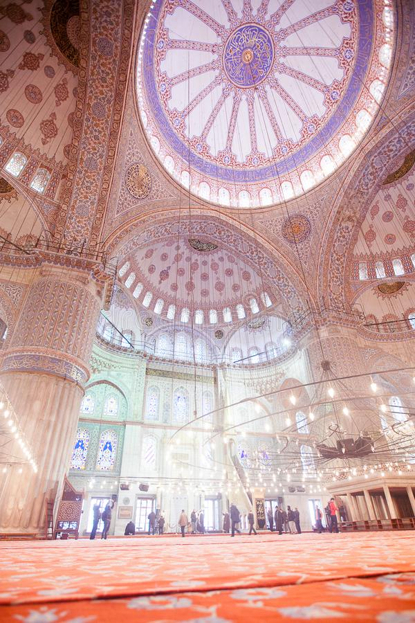 ISTANBUL, TURKEY - JAN 13, 2018: Interior of the Sultanahmet Mos. Que Blue Mosque in Istanbul, Turkey royalty free stock image