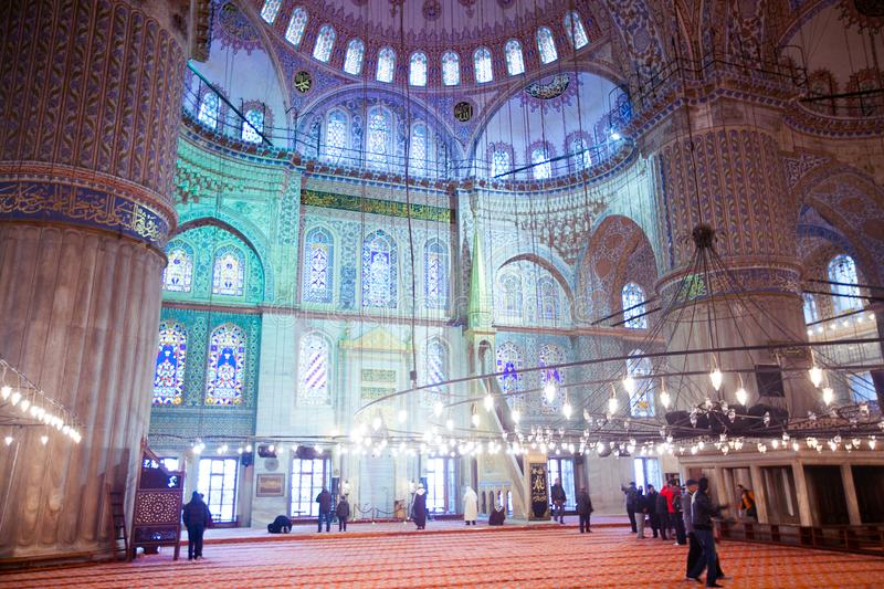 ISTANBUL, TURKEY - JAN 13, 2018: Interior of the Sultanahmet Mos. Que Blue Mosque in Istanbul, Turkey stock images