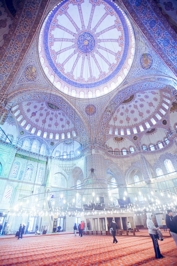 ISTANBUL, TURKEY - JAN 13, 2018: Interior of the Sultanahmet Mos. Que Blue Mosque in Istanbul, Turkey stock photo