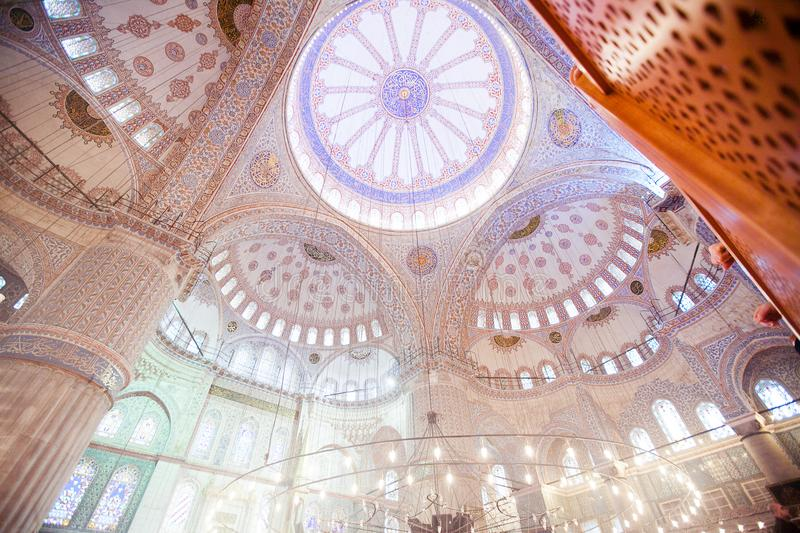 ISTANBUL, TURKEY - JAN 13, 2018: Interior of the Sultanahmet Mos. Que Blue Mosque in Istanbul, Turkey stock photos