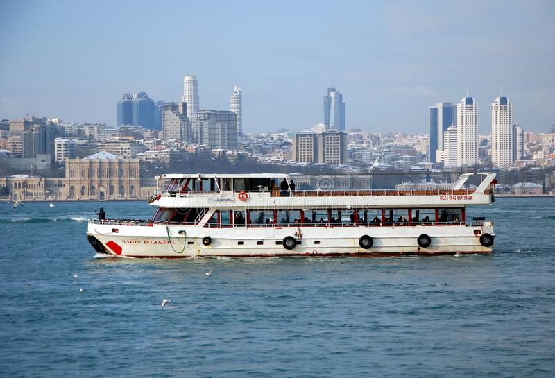 Tourism in Istanbul. ISTANBUL, TURKEY - JAN 9, 2013 - Passenger ferry on Bosphorus in Istanbul, Turkey stock images