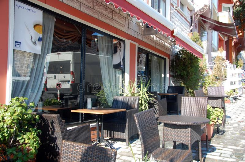 Terrace of a cafe in Istanbul. ISTANBUL, TURKEY - JAN 10, 2013 - Terrace of a cafe in Istanbul, Turkey stock photos
