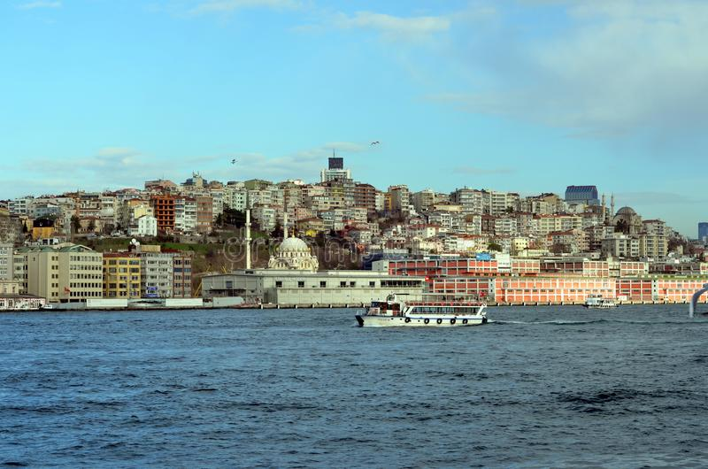 City views of Istanbul. ISTANBUL, TURKEY - JAN 19, 2013 - View on Istanbul from Bosphorus, Turkey royalty free stock photography