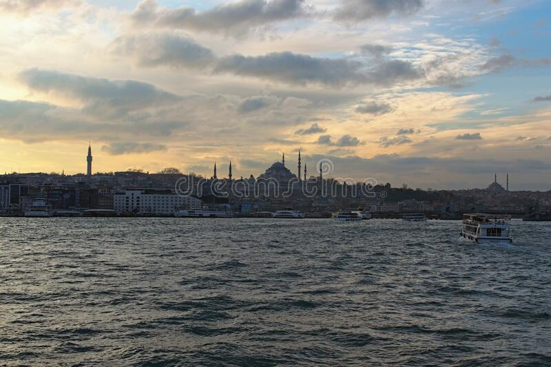 Beautiful landscape photo of sunset over Istanbul silhouette Winter cloudy sky. Istanbul, Turkey-January 03, 2020: Beautiful landscape photo of sunset over royalty free stock image