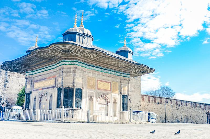 Istanbul, Turkey– January 18 , 2013: Entrance of the Topkapi palace, istanbul royalty free stock images