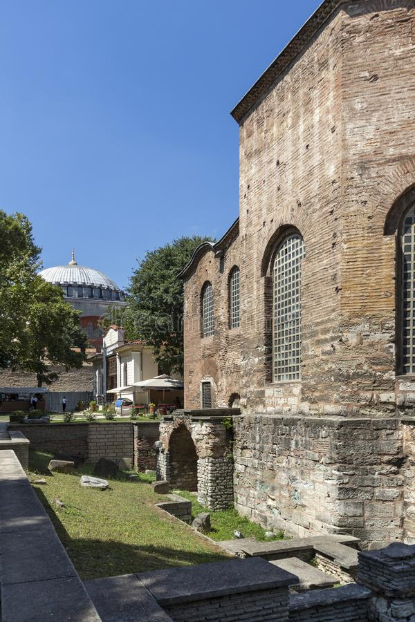 Hagia Irene orthodox church in city of Istanbul, Turkey. ISTANBUL, TURKEY - JULY 26, 2019: Ancient Byzantine Hagia Irene orthodox church in city of Istanbul stock photography