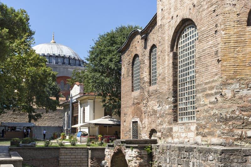 Hagia Irene orthodox church in city of Istanbul, Turkey. ISTANBUL, TURKEY - JULY 26, 2019: Ancient Byzantine Hagia Irene orthodox church in city of Istanbul royalty free stock image