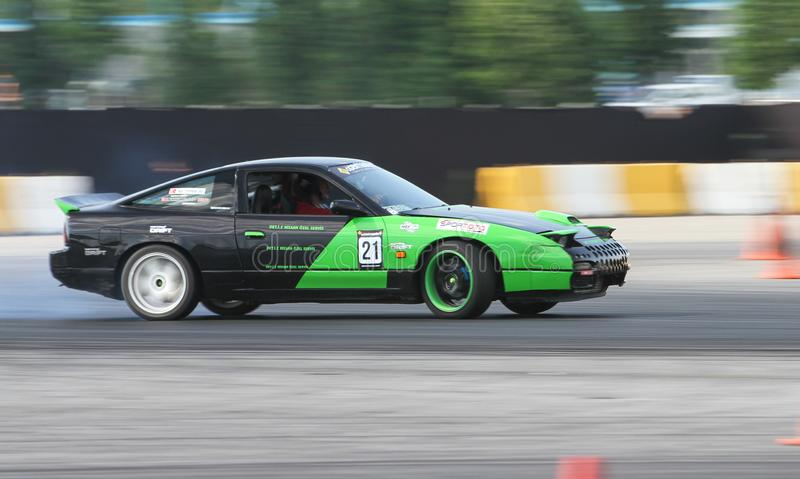 Apex Masters Turkish Drift Series Istanbul Race 2017. ISTANBUL, TURKEY - JULY 29, 2017: Imdat Tozkoparan drives Nissan 200 SX S13 of Det.i.z Team in Apex Masters stock images