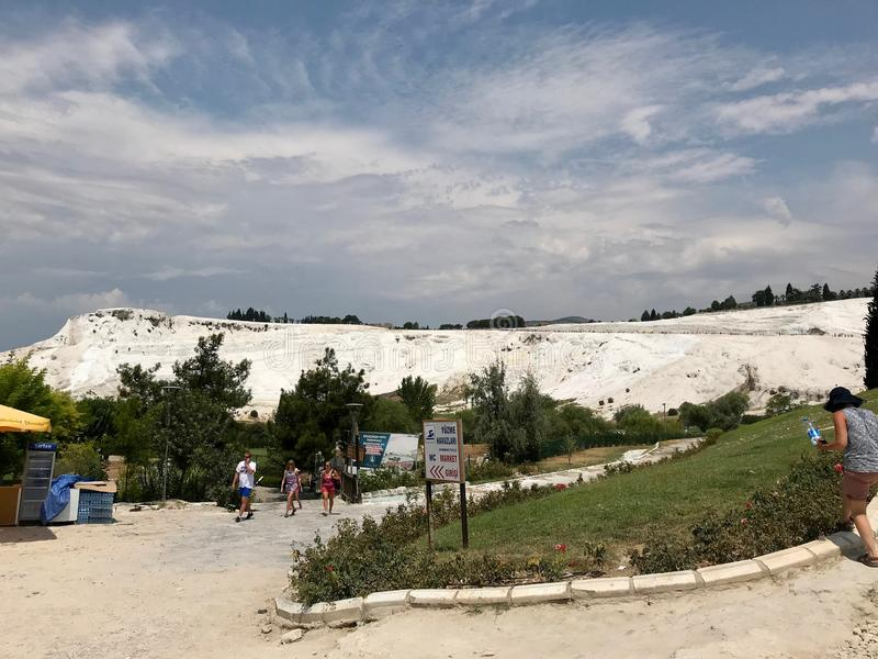 Istanbul, Turkey - July 23, 2018: Natural Travertine Pools and Terraces in Pamukkale. Cotton Castle in Southwestern Turkey royalty free stock image