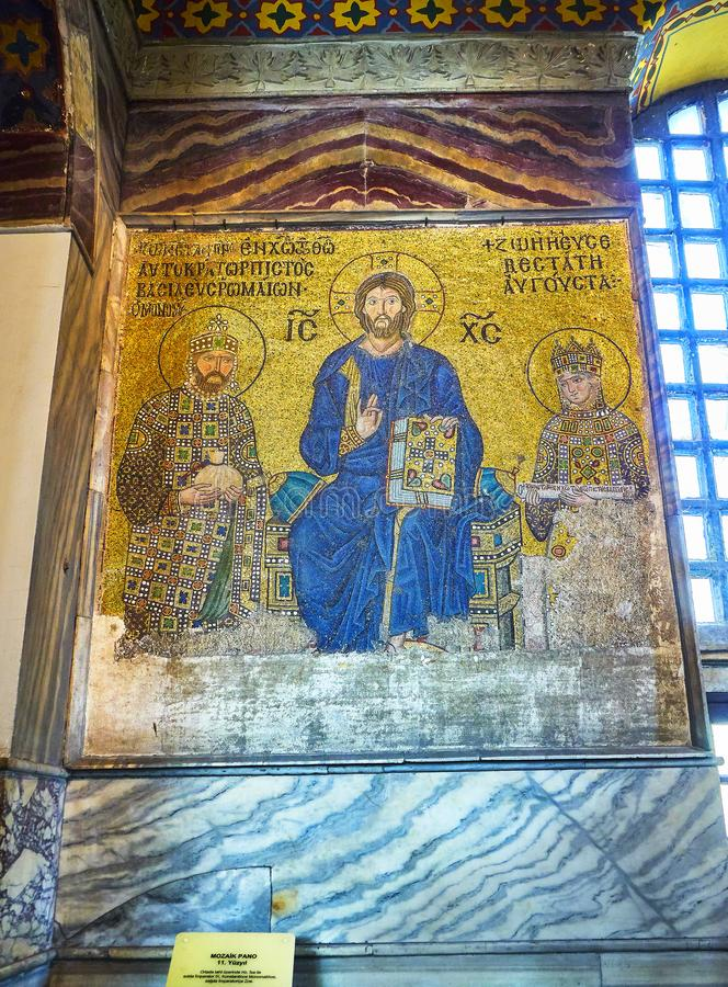 Zoe Mosaic of the Hagia Sophia mosque. Istanbul, Turkey. stock image