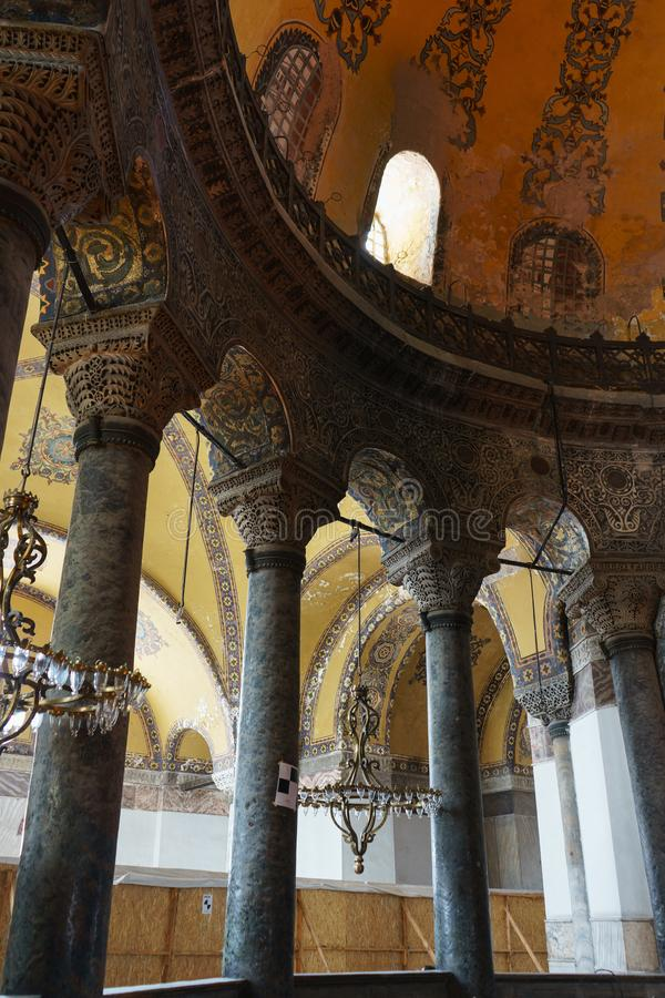 Hagia Sophia in Istanbul. Interiors of Ayasophia. Istanbul, Turkey, June 2018. Hagia Sophia in Istanbul. Interiors of Ayasophia. Museum, Orthodox Church and royalty free stock image