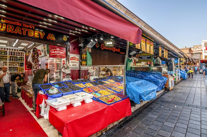 Eminonu, Istanbul. Istanbul, Turkey - June 27, 2019: Street view from Eminonu, Istanbul`s most touistic and crowded area with historical landmarks, cafes stock photo